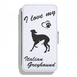 Italian Greyhound - Leather Flip Case