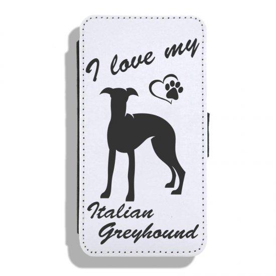 Italian Greyhound - Leather Flip Case